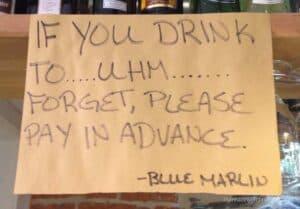 Blue Marlin Sign Marked