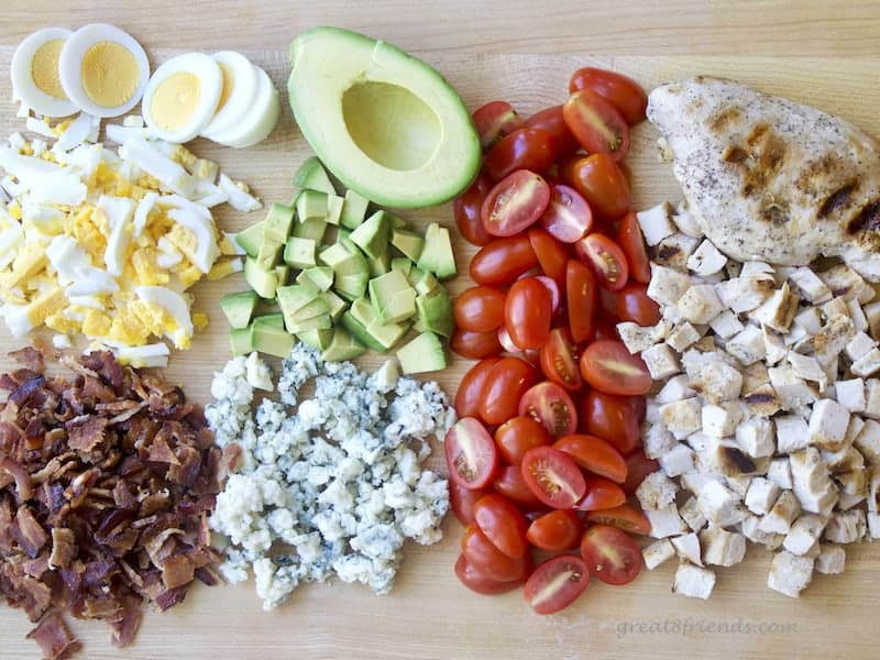 Bacon, cheese, avocado, chicken...and it's a salad! This Grilled Chicken Cobb Salad is the perfect lunch or dinner. As delicious as it is beautiful.