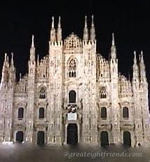 Milan Duomo At Night marked
