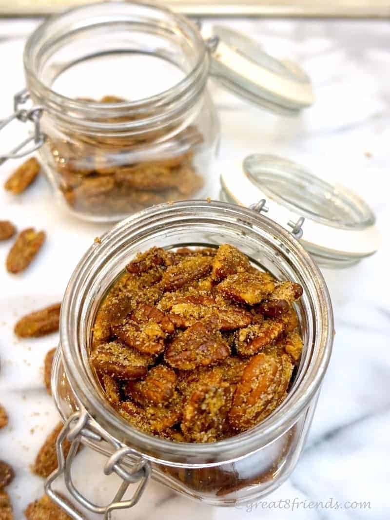 Sugar and Spice Pecans, the perfect snack for your guests or a Gr8 gift to bestow. These are easy to make and package well.