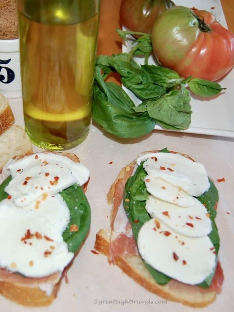 caprese grilled cheese open cheese