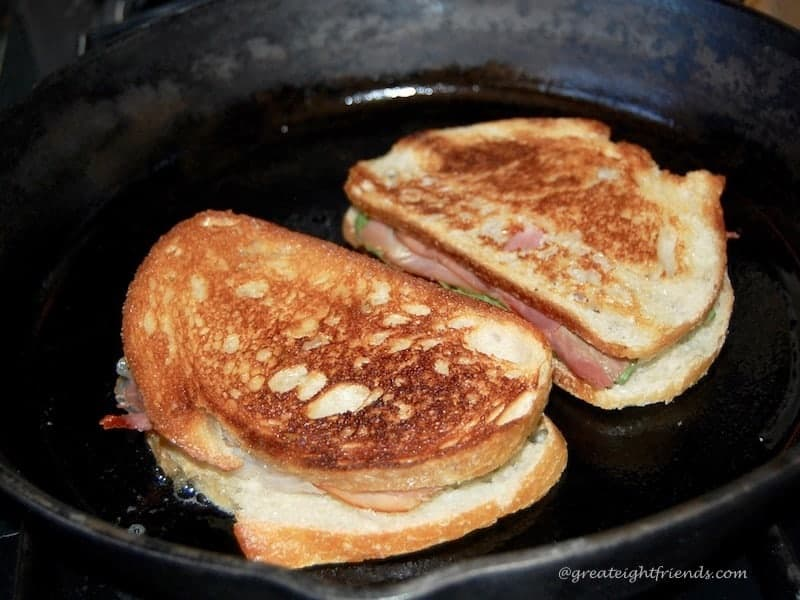 caprese grilled cheese in skillet