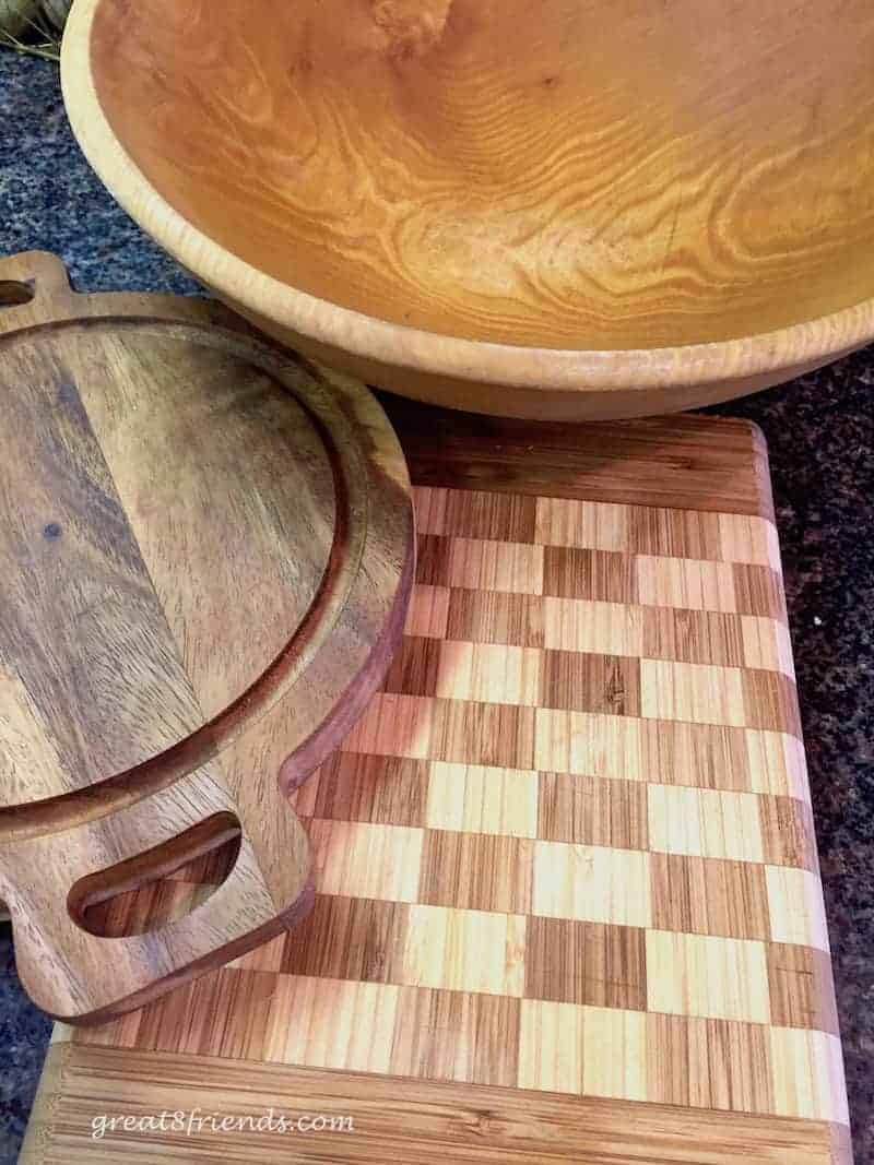 Care and Feeding of Your Wooden Kitchen Tools picture of cutting board, wood bowl and wood platter