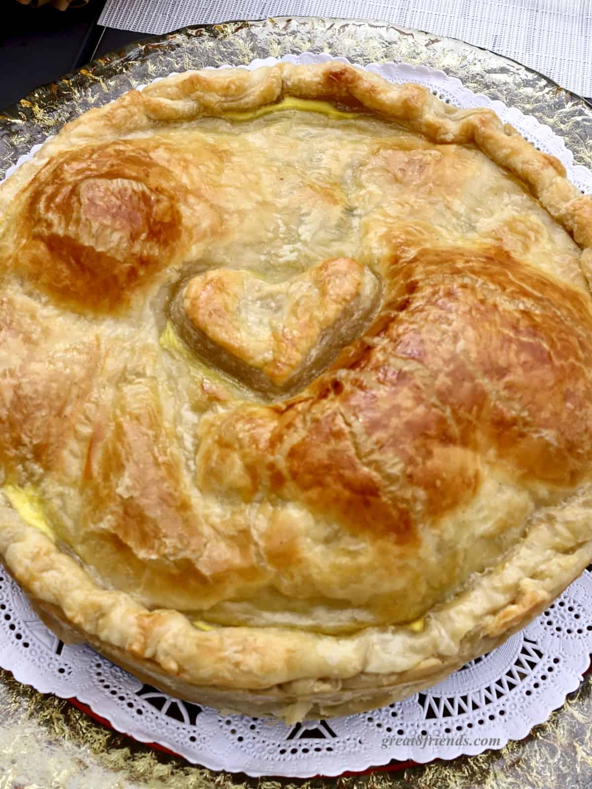 Puff Pastry with a heart on top.