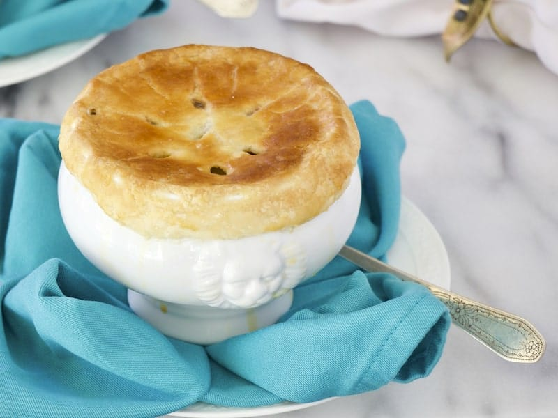 Chicken Pot Pie is the perfect comfort food for entertaining or for a weeknight family supper. And this recipe starts with a rotisserie chicken!