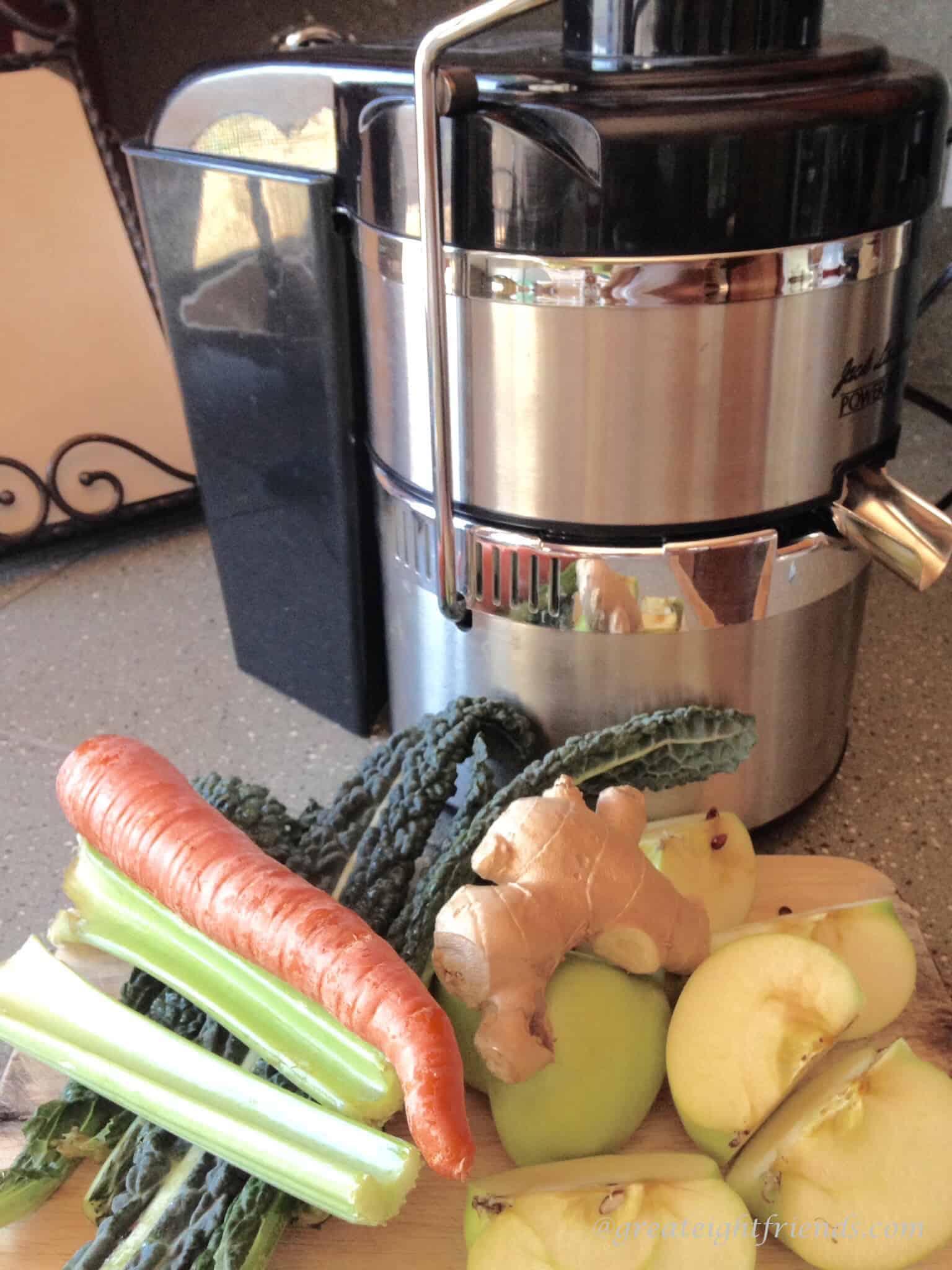 Juicer and veggies