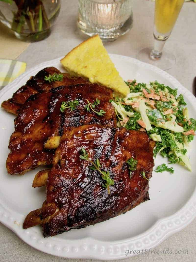 Brined Slow Cooker Barbecued Pork Ribs with cornbread and kale slaw