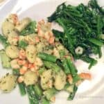 Gnocchi with Shrimp, Asparagus, and Pesto plated