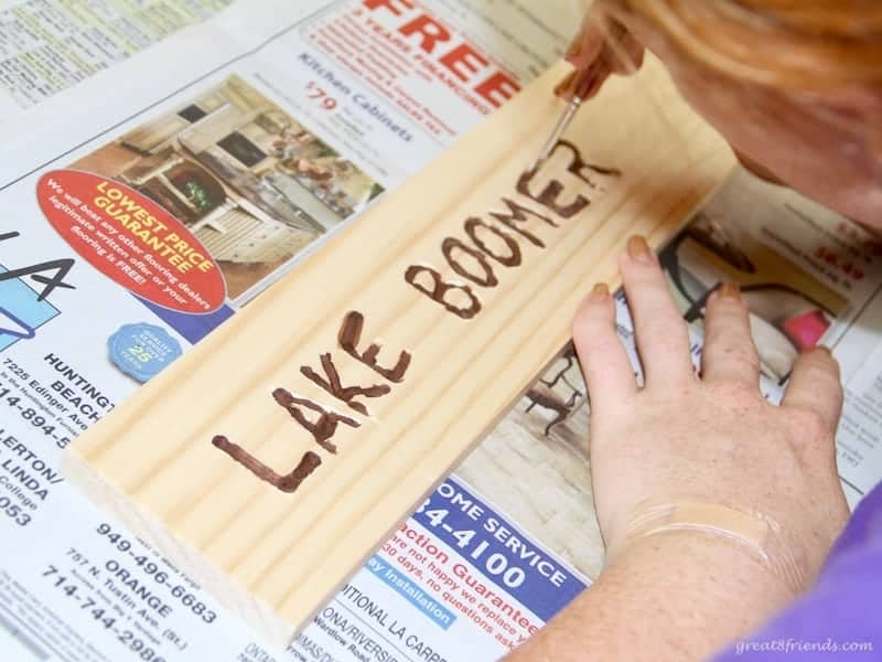 Lake Boomer sign made out of wood.