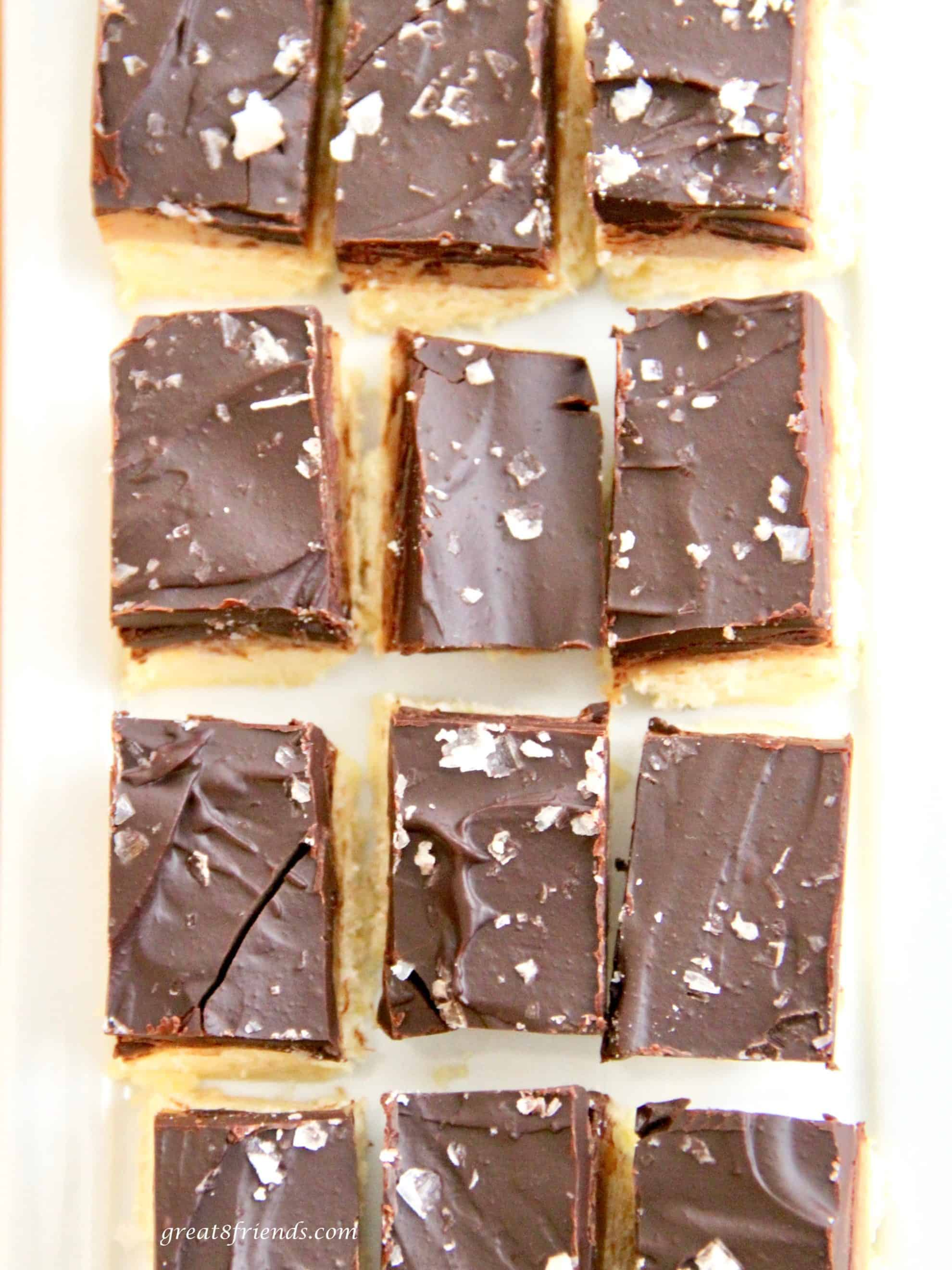 Caramel Chocolate Shortbread bars with Maldon j Sea Salt Flakes