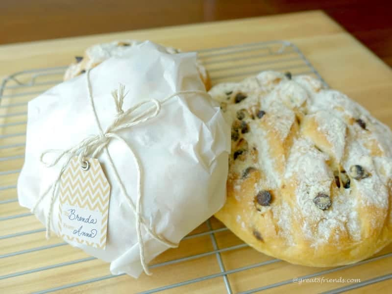 Chocolate Chip Bread wrapped as a gift.