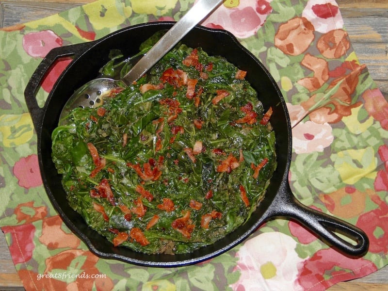 Braised greens with Bacon