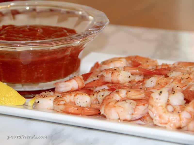 This Roasted Shrimp Cocktail served with a delicious sauce made from basic ingredients in your refrigerator is a real crowd pleaser!