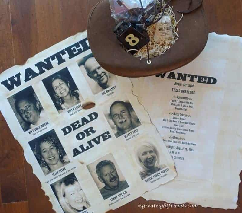 The whole invitation, with the wanted poster, and cowboy hat filled with goodies.