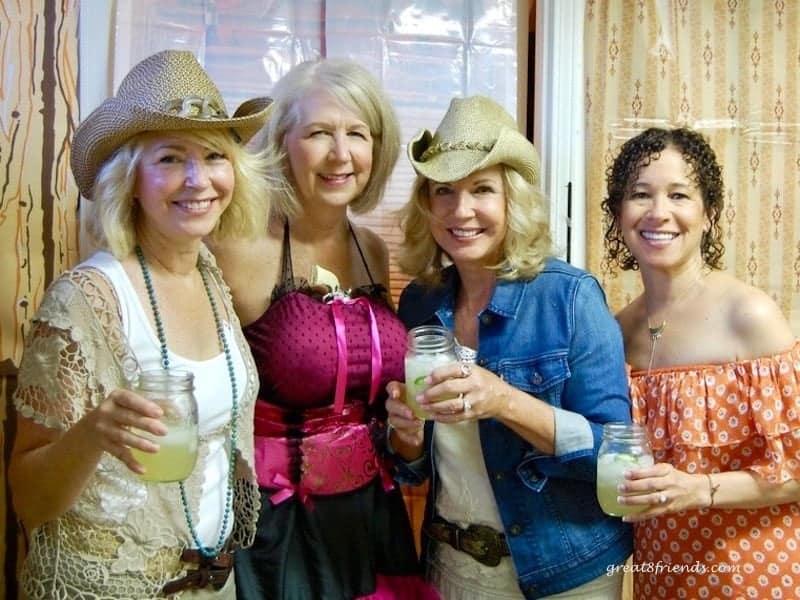 Anna, Kyle, Jurga and Debbie dressed as western women.