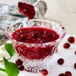 Cranberry Sauce in a crystal bowl.