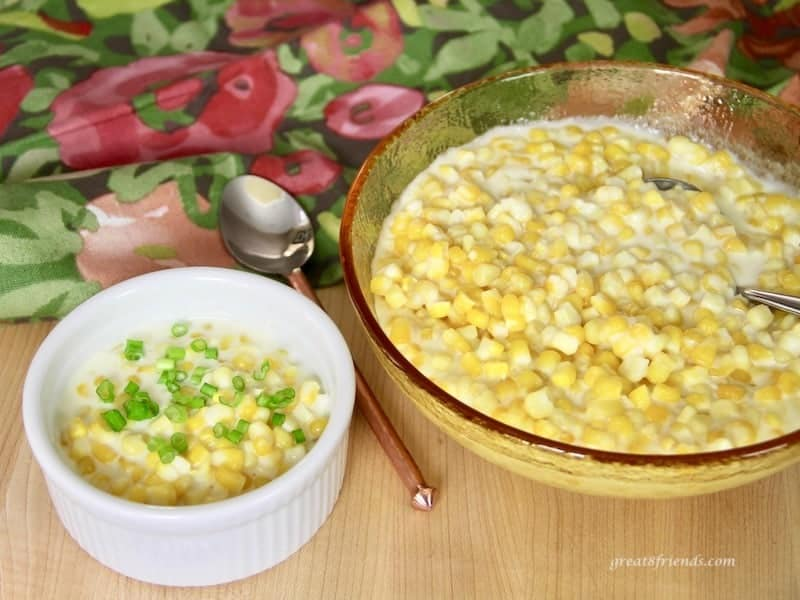 creamed corn with scallions