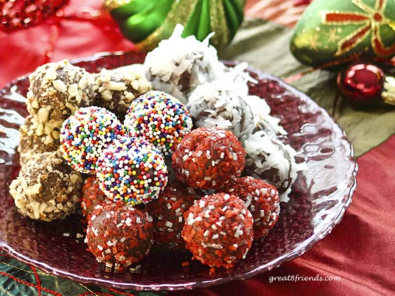 Chocolate truffles rolled in different sprinkles.