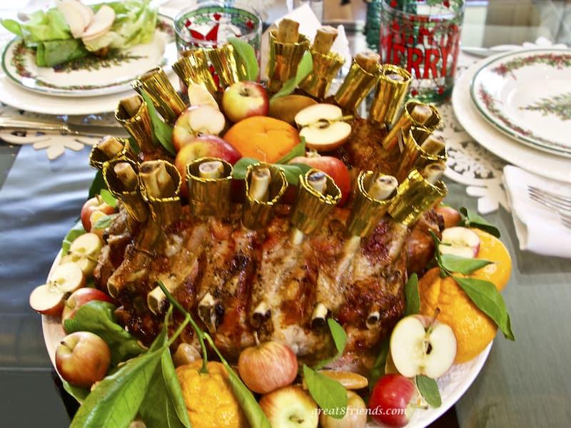 Crown Roast of Pork on a Christmas table.