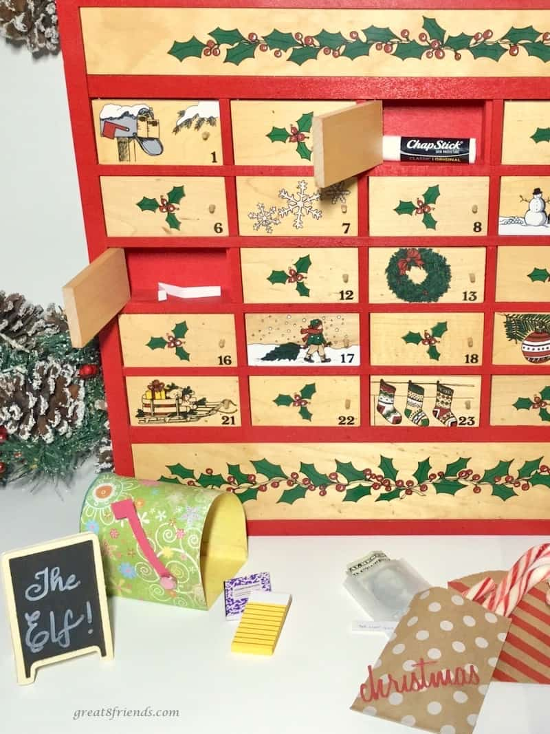 advent calendar with elf gifts