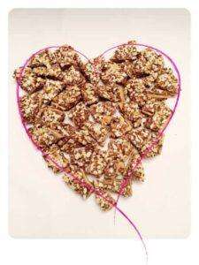 Toffee inside a drawn heart.