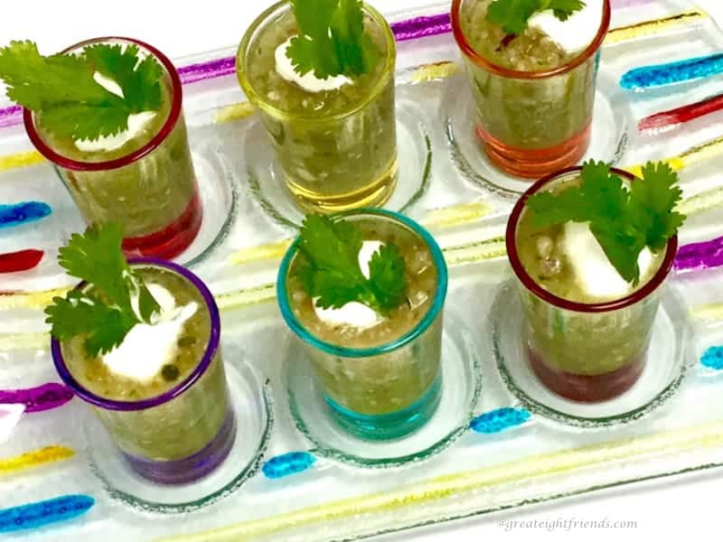 This fresh appetizer, Green Gazpacho, is a fun way to serve fresh vegetables combined together giving a fresh and tangy flavor!