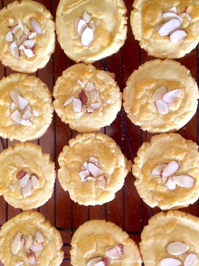 Overhead shot of baked almond cookies.