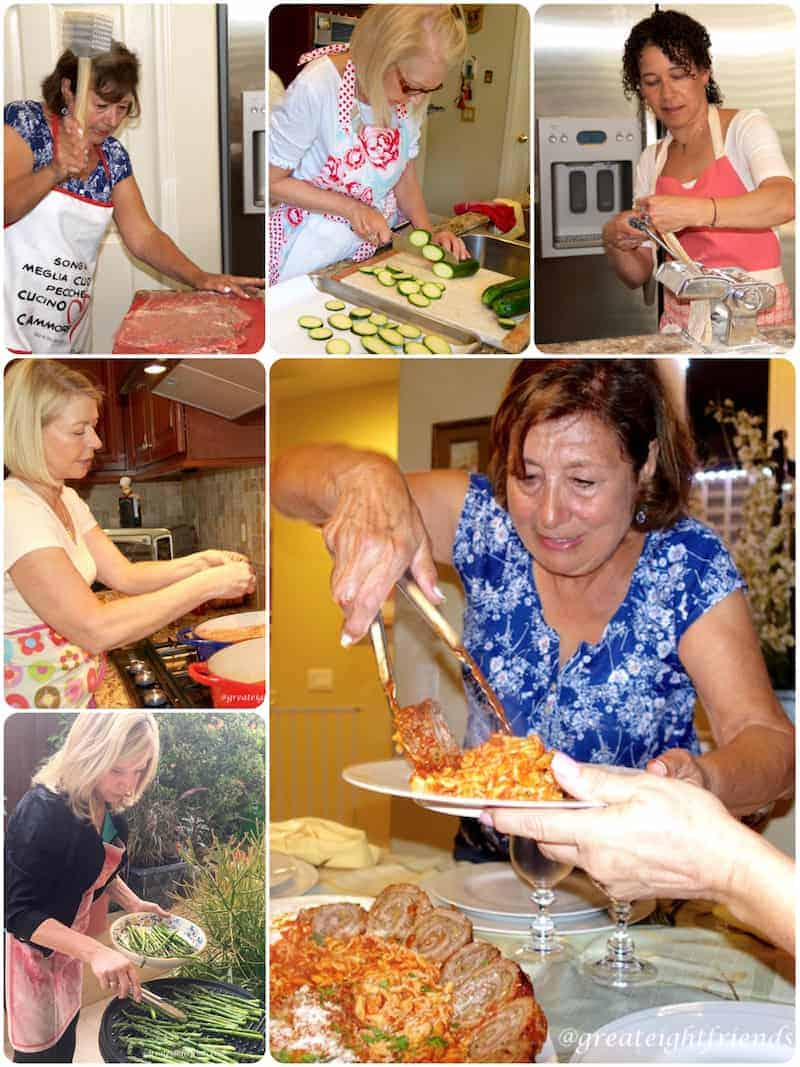 Collage of cooking day. Clockwise from top left, pounding meat, slicing zucchini, putting pasta through the roller, serving pasta, grilling asparagus, at the stove.