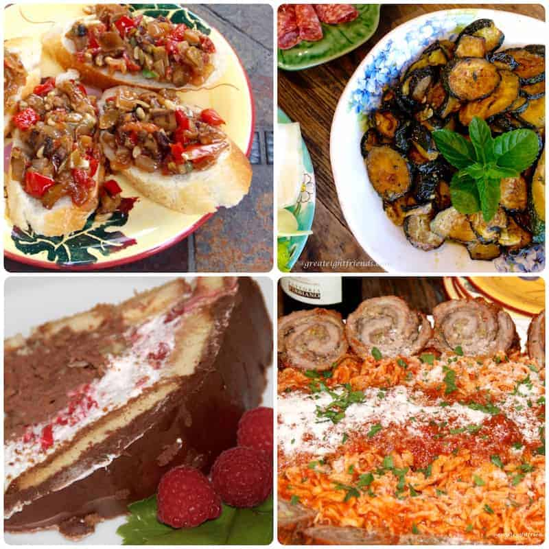 Four dishes from Cooking with Nonna Anna. Clockwise from top left, eggplant caponata on bruschetta, Zucchini Scapece, Beef Braciole with pasta and sauce, Zuccotto.