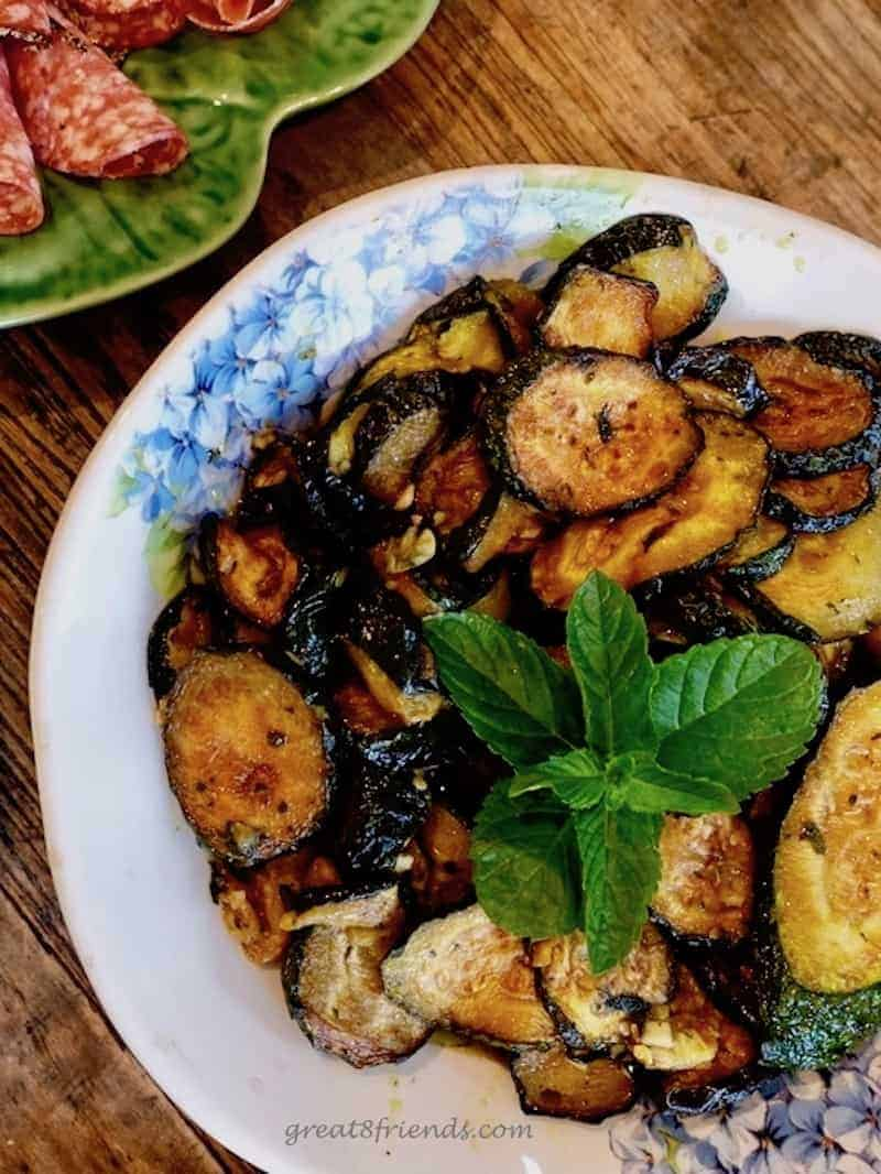 Zucchini Scapece garnished with mint.