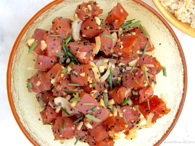 Dinner for 8 friends can be easy, tasty and fun. This Shipwrecked Gr8 Dinner theme is the perfect party and everyone can contribute something, like this Ahi Poke.