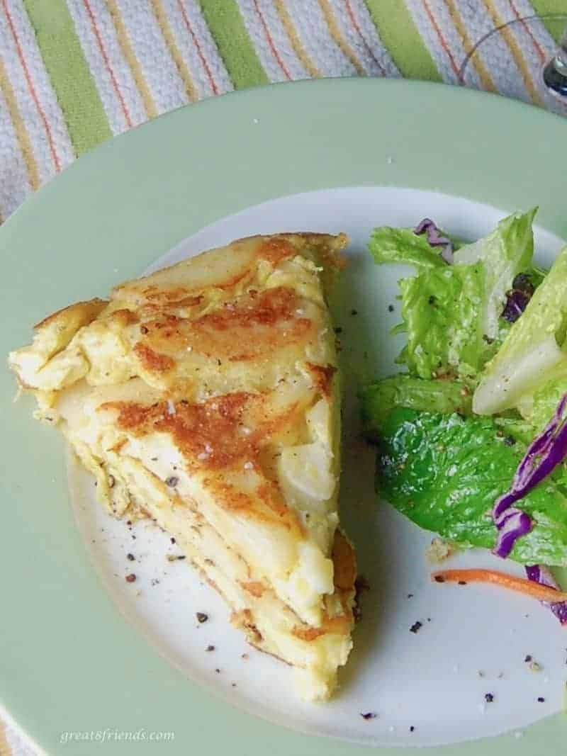 This Tortilla Española is a dish very close to a frittata, both having eggs as their main ingredient. Enjoy it for breakfast or appetizer or any meal!