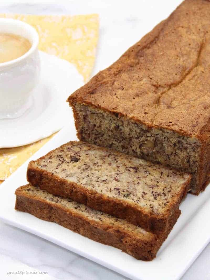Don't throw away those over ripe bananas! This Banana Bread recipe is the perfect solution to use them and it will be the best Banana Bread you will have ever tasted!