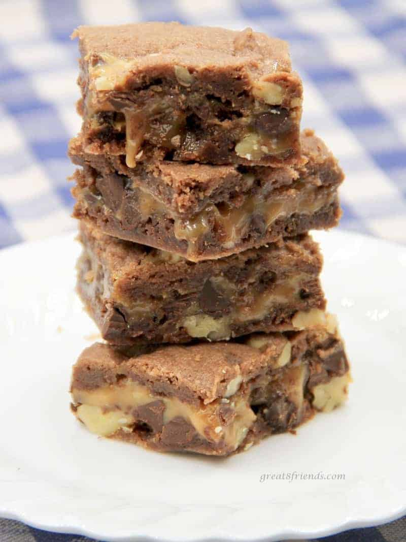 These Caramel Chocolate Chip Brownies are a huge hit every time we serve them. Super easy to prepare and the perfect dessert for any gathering.