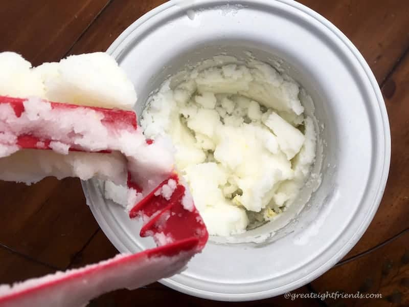 An ice cream maker filled with a frozen treat.