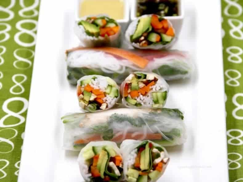 White tray of veggie spring rolls.