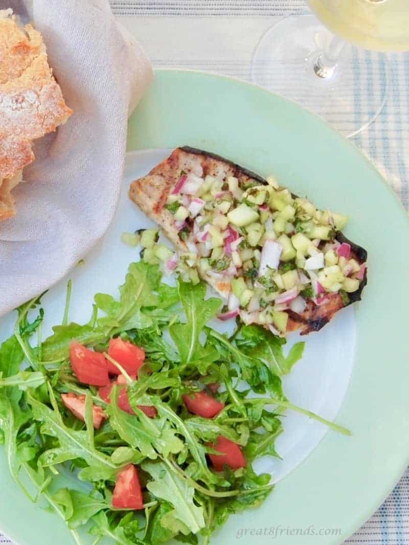 This Grilled Swordfish with Mint Cucumber Salsa is a fresh, light, and healthy meal and perfect for a backyard barbecue.