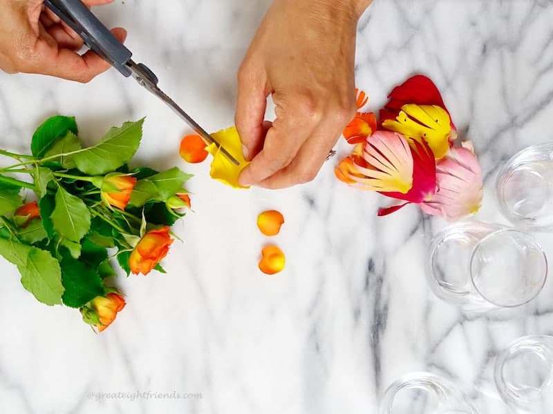 Hands cutting edible flowers.