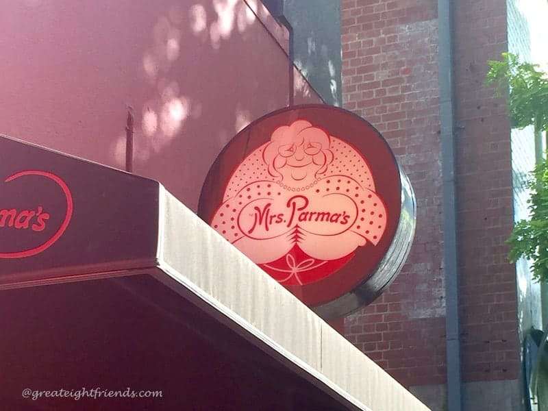 A photo of the sign outside of Mrs. Parma's Restaurant.
