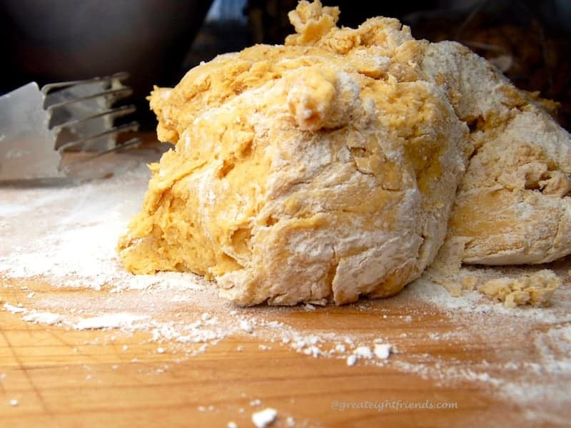 Close up of biscuit dough.