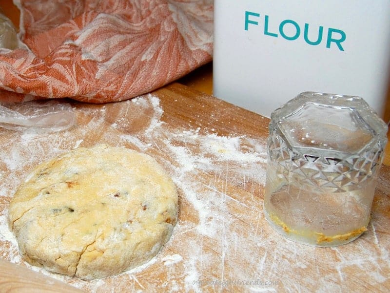 Dough ready to be cut into biscuits.