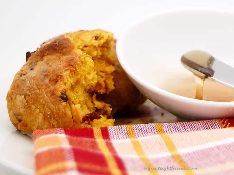 Pumpkin Biscuits with honey for dipping.