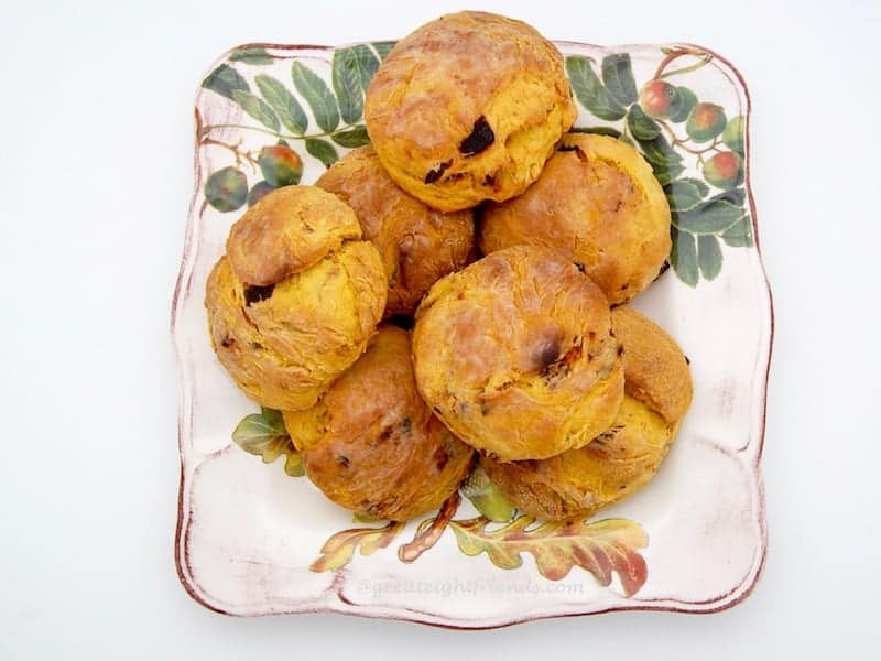 Pumpkin Biscuits on a square plate.