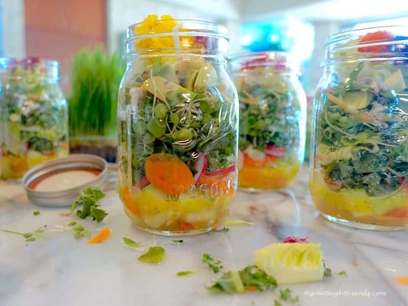 Psychedelic Salad, served in jars.
