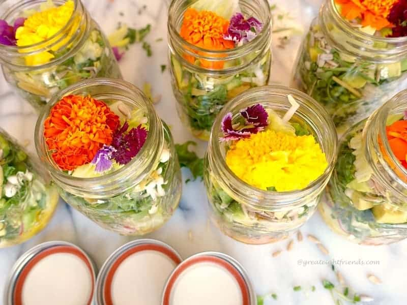 Psychedelic Salad...served in a jar for a Far Out dinner! The light citrus vinaigrette goes perfectly with all groovy ingredients!