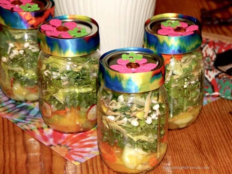Psychedelic Salad in jars