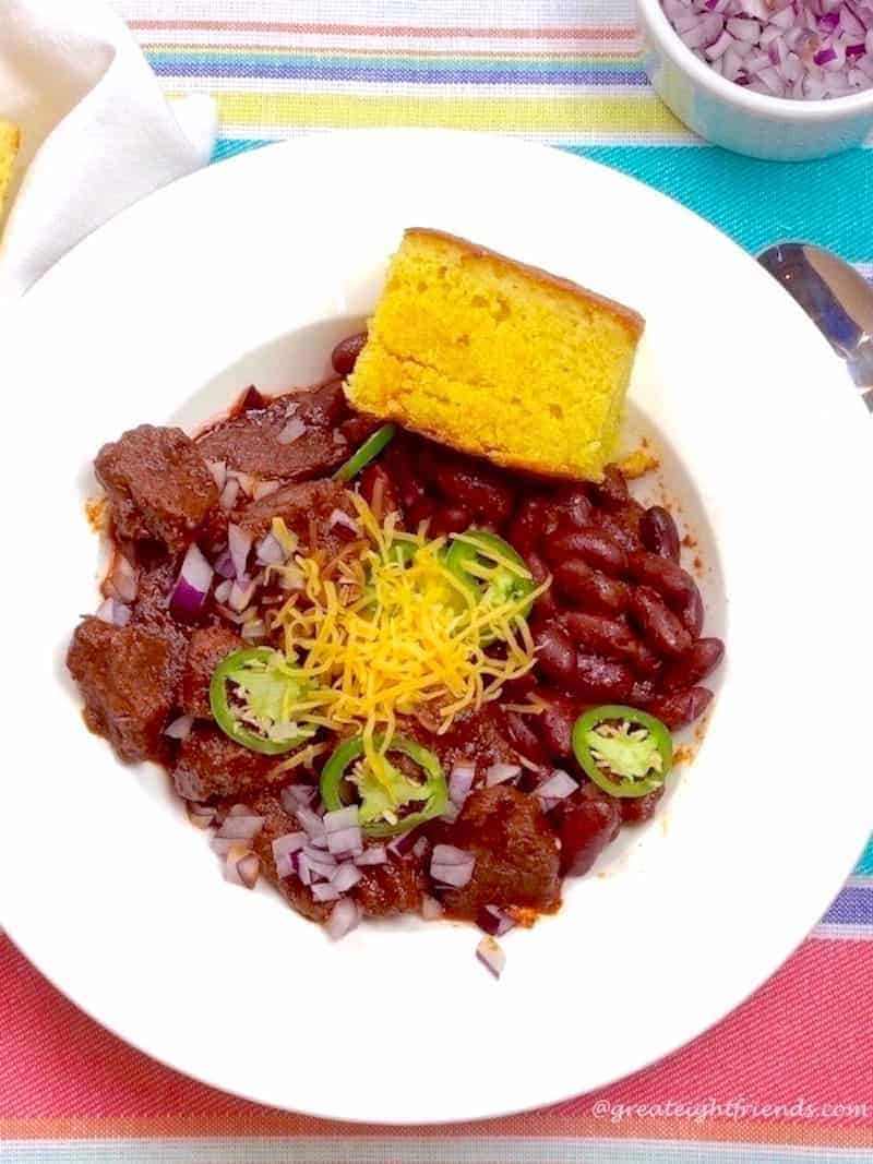 Beef chili with cornbread