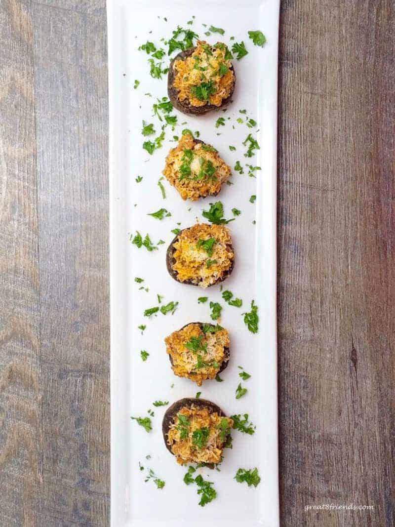 Sausage Stuffed Mushrooms on a plate.