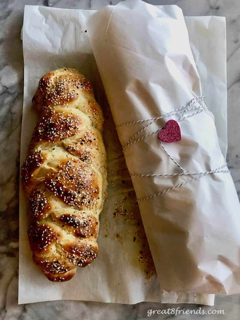 Make Debbie's Challah Bread one time and you will be hooked! It is super easy and wonderfully delicious. One recipe makes two loaves!