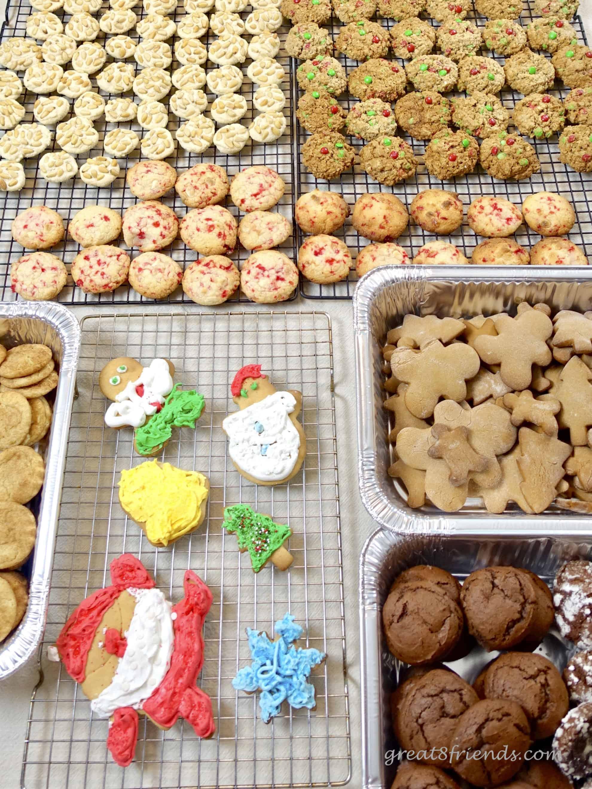 Homemade cookies on cooling racks for Christmas cookie bake.
